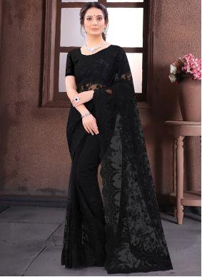 Black Net Wedding Bollywood Saree