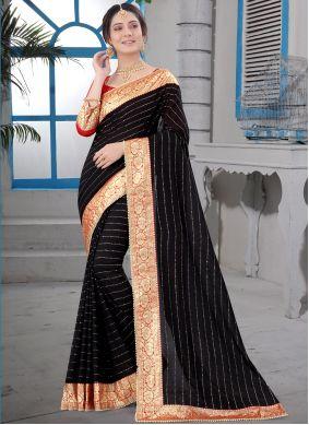 Black Patch Border Designer Saree