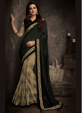 Black Patch Border Traditional Designer Saree