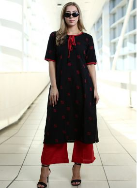 Black Plain Ceremonial Party Wear Kurti