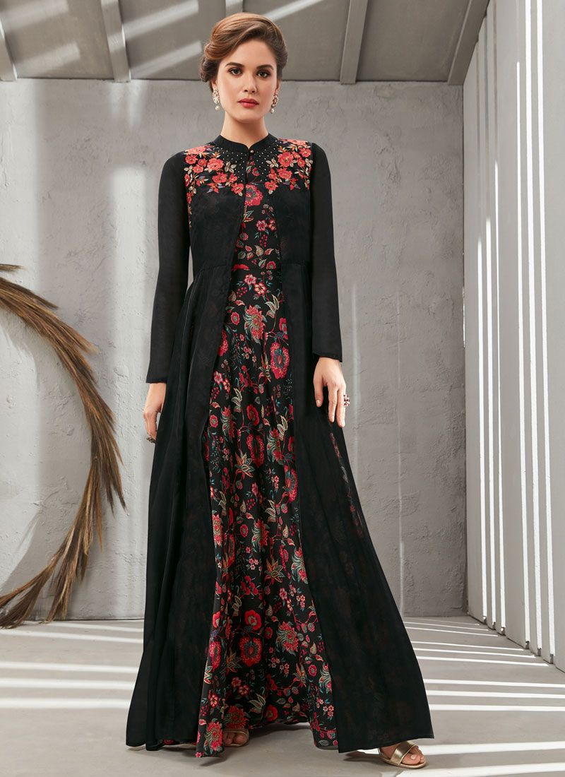 Black Poly Silk Readymade Designer Gown