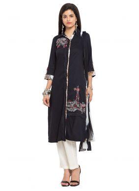 Black Printed Cotton Readymade Salwar Kameez