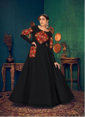 Black Reception Georgette Floor Length Gown