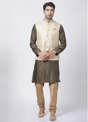 Black Reception Kurta Payjama With Jacket