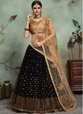 Black Reception Net Trendy Lehenga Choli