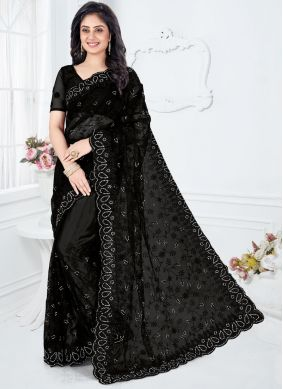Black Resham Wedding Designer Saree