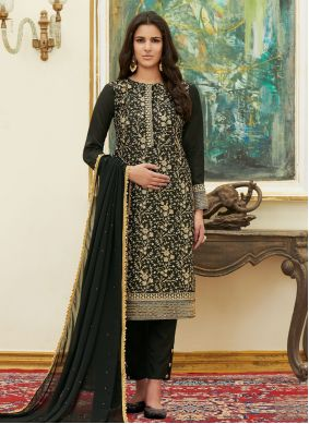 Black Satin Embroidered Pant Style Suit