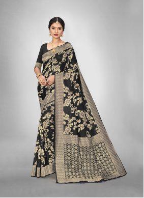 Black Weaving Art Silk Trendy Saree