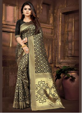 Black Weaving Casual Saree
