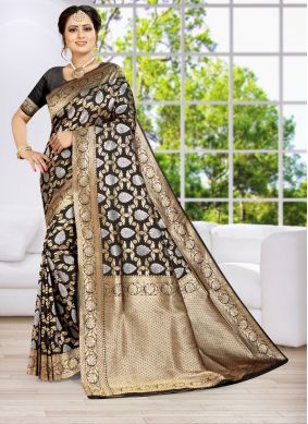 Black Weaving Reception Classic Designer Saree