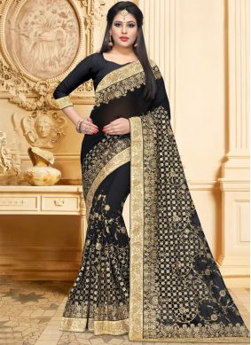 Black Wedding Faux Georgette Saree