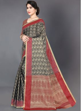 Black Woven Silk Trendy Saree