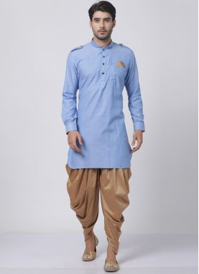 Blended Cotton Blue Dhoti Kurta