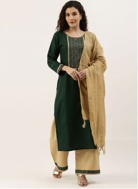 Blended Cotton Fancy Designer Palazzo Suit in Green