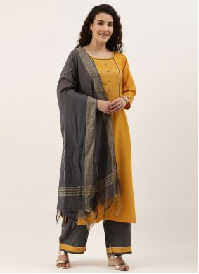 Blended Cotton Fancy Yellow Designer Palazzo Suit