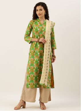 Green Blended Cotton Festival Palazzo Suit