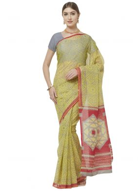 Blended Cotton Green Printed Saree