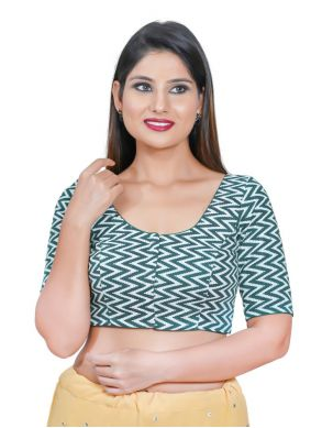 Blended Cotton Printed Blouse in Green