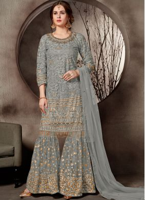 Blissful Net Embroidered Designer Palazzo Salwar Suit