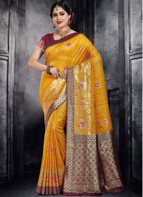 Blissful Silk Yellow Weaving Designer Saree