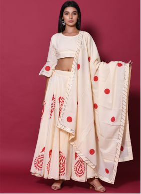 Block Print Cotton Lehenga Choli in Beige