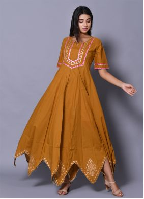 Block Print Cotton Readymade Gown in Mustard