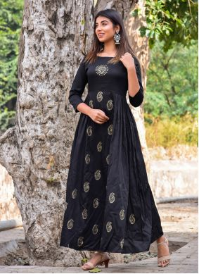 Block Print Black Jamawar Silk Readymade Gown