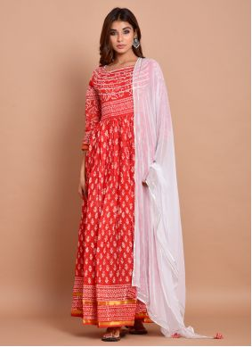 Block Print Readymade Trendy Gown