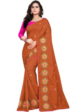 Blooming Embroidered Art Silk Maroon Designer Traditional Saree