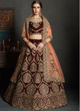 Blooming Embroidered Maroon Lehenga Choli