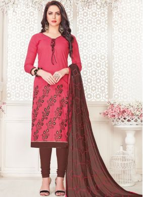 Blooming Embroidered Rose Pink Cotton   Churidar Suit