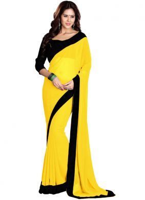 Blooming Faux Georgette Yellow Saree