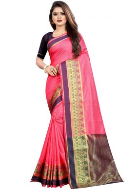 Blooming Woven Cotton Classic Designer Saree