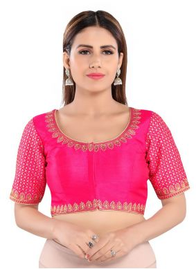 Blouse Embroidered Art Silk in Pink