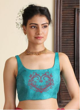 Blouse Embroidered Dupion Silk in Aqua Blue