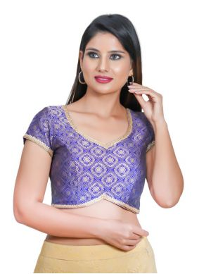 Blouse Embroidered Jacquard in Purple