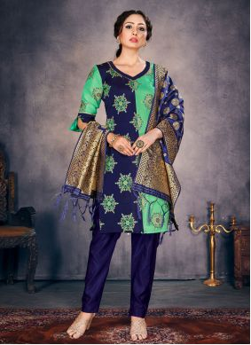 Blue and Green Color Pant Style Suit