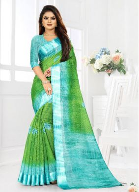 Blue and Green Weaving Festival Saree