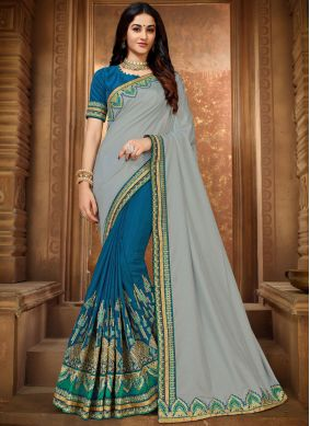 Blue and Grey Embroidered Classic Designer Saree