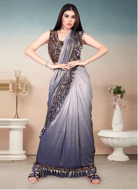 Blue and Grey Lycra Sequins Shaded Saree