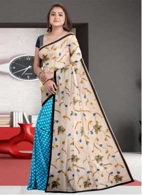 Blue and Off White Color Designer Half N Half Saree