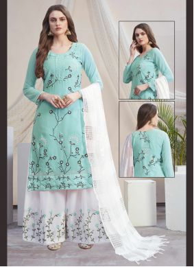 Blue and Off White Embroidered Faux Georgette Designer Palazzo Salwar Suit