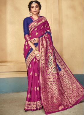 Blue and Pink Party Designer Traditional Saree