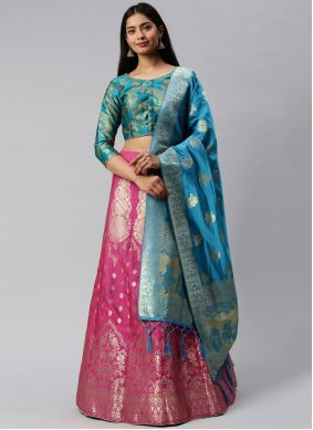Blue and Pink Weaving Banarasi Silk Lehenga Choli