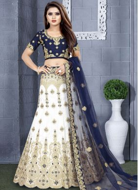 Blue and White Color Lehenga Choli