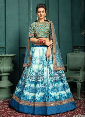 Blue and White Festival Trendy Lehenga Choli