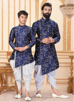 Blue and White Jacquard Silk Indo Western