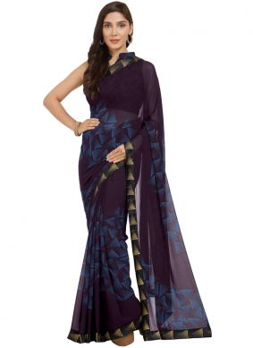 Blue and Wine Casual Faux Georgette Shaded Saree