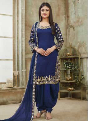 Blue Art Silk Embroidered Designer Patiala Suit