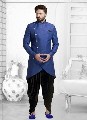 Blue Art Silk Plain Indo Western